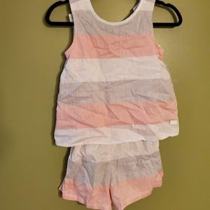 tank top romper white pink and gray